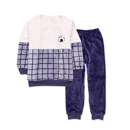 GWELL Kinder SuperWeich Flanell Jungen Schlafanzug Set Langarm Zweiteilig Kinderschlafanzug für Herbst & Winter Kariert Weiß-Blau 110