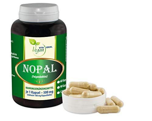 VITAIDEAL VEGAN® NOPAL (Feigenkaktus Opuntia) 60 Kapseln je 500mg, rein natürlich ohne Zusatzstoffe. - 500 Mg 60 Vegi-kapseln