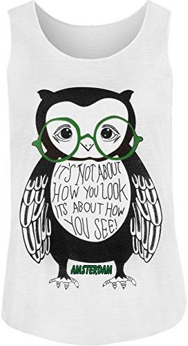 WearAll - Damen Eule Brille Druck Ärmellos Racerback Vest Top - Weiß - 36-38 - Weißer Text Ärmelloses T-shirt