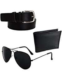ELLIGATOR Men's Leather Belt, Card Holder and Sunglass Combo (Black, Free Size)