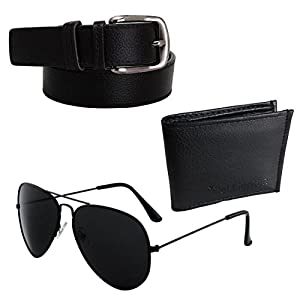 Elligator Men's Combo Of Sunglasses With Black Belt & Card Holder