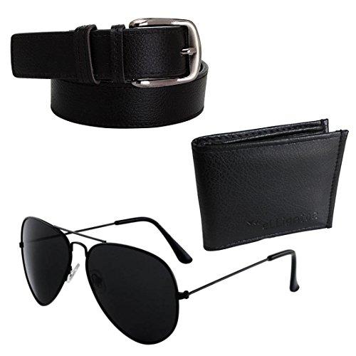 Elligator Men's Combo Of Sunglasses With Black Belt & Card Holder