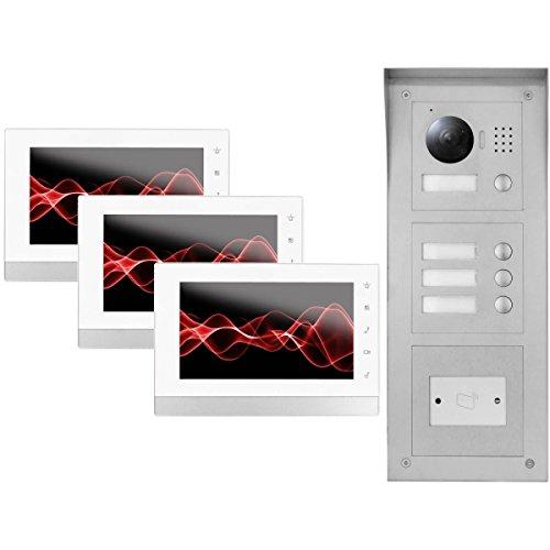 """IP Video Türsprechanlage 3x 7\"""" Innen- und 3-Fam. HD Außenstation + RFID"""