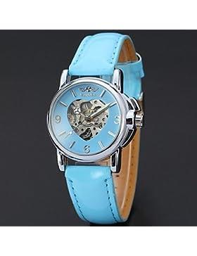 Schöne Uhren, Frauen-Herz-Design mechanische Uhr Sieger Automatik Skelett Hohl beiläufige Armbanduhren