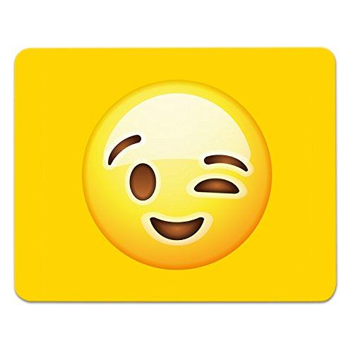 Addies Mousepad Emoji/Emoticons. Sehr schönes Mauspad Motiv in feiner Cellophan Geschenk-Verpackung mit Kautschuk Untermaterial, 240x190mm, Motiv-Zwinker
