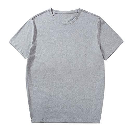 UINGKID Herren T-Shirt, Rundhals-Ausschnitt Slim Fit Männer Arbeiten Feste Baumwollentwurfs- beiläufige Oberseiten-Bluse Plus Größe 2xl-6xl um