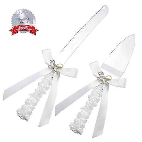 DÉCOCO Hochzeitstorte Messer und Server-Set, Schleife Griff, Set 2-teilig mit Geschenk Boxen, Tortenbesteck für Hochzeit Taufe, Edelstahl poliert