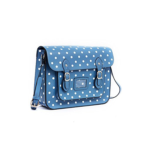 Yasmin Bags Cartella/borsa a tracolla con stile vintage, a pois, con portachiavi e lucchetto incluso, 34,3cm Placid Blue Y12345D
