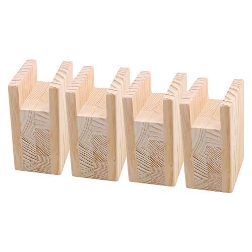 RDEXP 10 x 7 x 13,5 cm Rillenbreite 4 cm Holz Tisch Tisch Betterhöhung Möbel Beine Heber Füße bis 10 cm Lift Set von 4 Stück