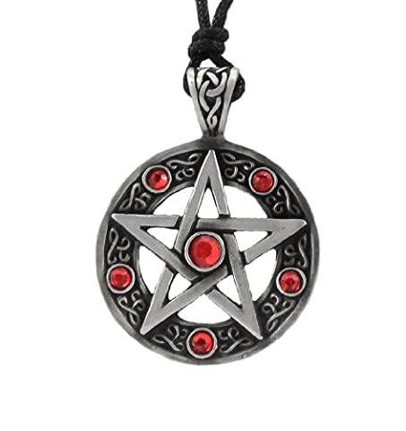 Mystical & Magical Pewter - Red - Pentagram Pentacle Celtic Pagan Wiccan Gothic Pendant