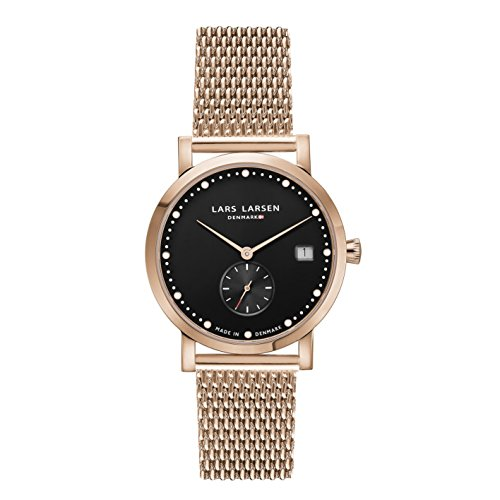Lars Larsen LW37 Women's Quartz Watch with Black Dial Analogue Display and Rose Gold Stainless Steel Bracelet 137RBRM