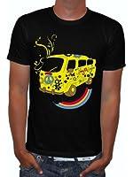 Raxxpurl Comic T-Shirt Peace Car Flowerpower Skull for Party, Biker, Emo, Punks