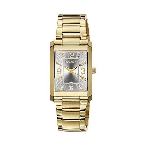 Rodania-Orologio da uomo al quarzo con Display analogico e braccialetto in acciaio inox placcato oro, RF2494561