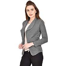 MansiCollections Dark Grey Textured Blazer for Women