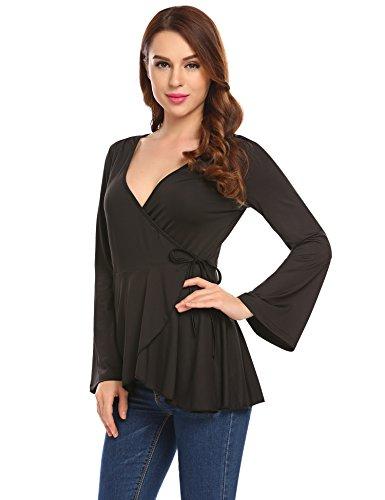 Zeela Damen V Ausschnitt Asymmetrisch Langarmshirt Wickel Pullover Oberteile Shirt Bluse Top mit Bindeband (Langarm-wickel-pullover)
