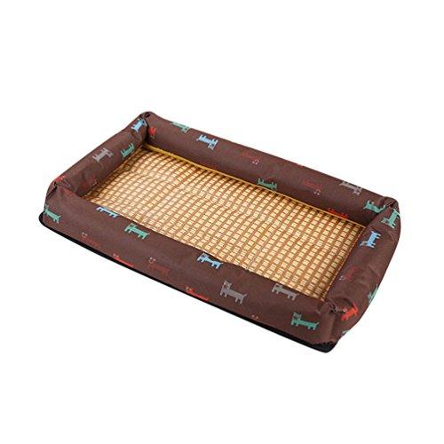 Sentaoa tappetino rinfrescante in gel per cane gatto cuccia estivo stuoia fredda di raffreddamento letto animale domestico (marrone,85 * 65 cm)