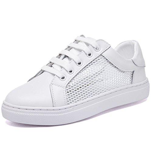 WZG Weißes Leder Spitze Schuhe Frauenschuhe Frühling und Sommer neue koreanische Version der beiläufigen Schuhe flache Schuhe net shoes