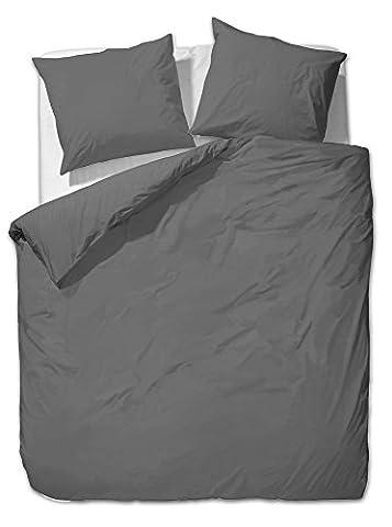 2 tlg. etérea Mako Satin Uni Einfarbig Bettwäsche - Ganzjahres & 4-Jahreszeiten Bettwäsche-Set - 155x220 + 80x80 cm -