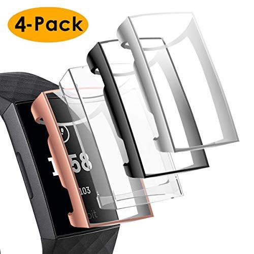 CAVN Schutzhülle Kompatibel mit Fitbit Charge 3 Schutzfolie Hülle (4-Stück), Flexibles TPU Ultradünner Vollschutz Stoßfänger Bruchsicher Stoßfestes Displayschutz Hülle für Charge 3 -