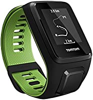 TomTom Runner 3 GPS Running Watch with Heart Rate Monitor and Music, Large Strap - Black/Green