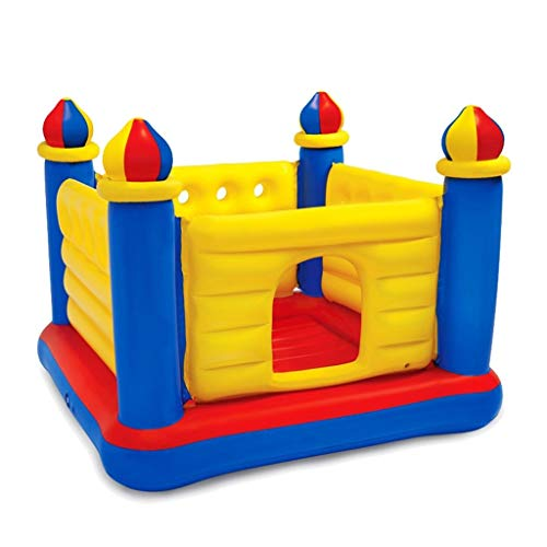 Bouncy Castles Sports Toys Outdoor Home Children's Inflatable Park Boy and girl playground Folding inflatable fort Indoor bounce bed toy/Trampoline (Color : Yellow, Size : 135 * 175 * 175cm)