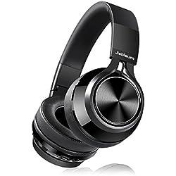 Casque Bluetooth, Jiebleum Casque Audio Pliable Bluetooth avec Microphone, Casque Hi-FI Stéréo sans Fil, Protège-Oreilles à Mémoire de Forme, Compatible avec iPhone,Android,PC, TV, Mac etc (Noir)