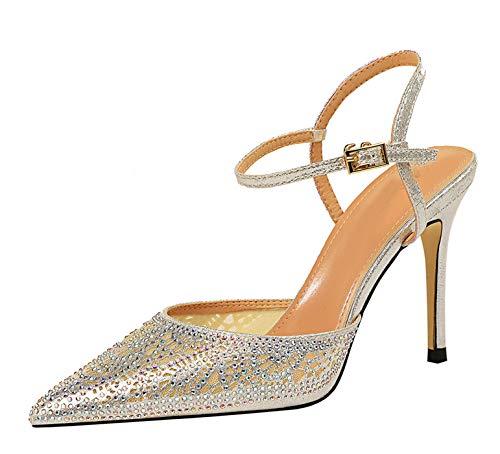 Miyoopark Damen Sommerschuhe Sparkle Slingback Glitzer Stiletto High Heel Pumps Sandalen, Silber - Silver-3.74