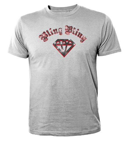 Mister Merchandise Cooles Fun T-Shirt Bling Bling Grau