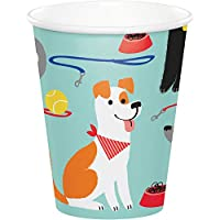 Creative Converting 336049 Dog Party Cups, Blue, 9 oz