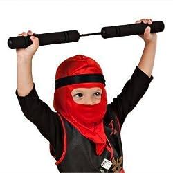 Childrens Costumes Halloween Masks Pretend Play Ninja Costume With Foam Nunchucks (Green)