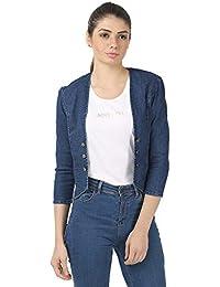 My Swag Blue Denim 3/4 Sleeve Shrug for Women