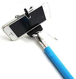 Premsons Ultimate Selfie Stick with AUX Cable Wired Self Portrait Monopod Holder for Apple & Android Phones - Colour May Vary