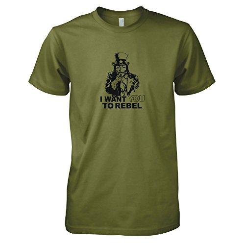 Whistleblower Kostüm - TEXLAB - I want you to rebel - Herren T-Shirt, Größe XXL, oliv