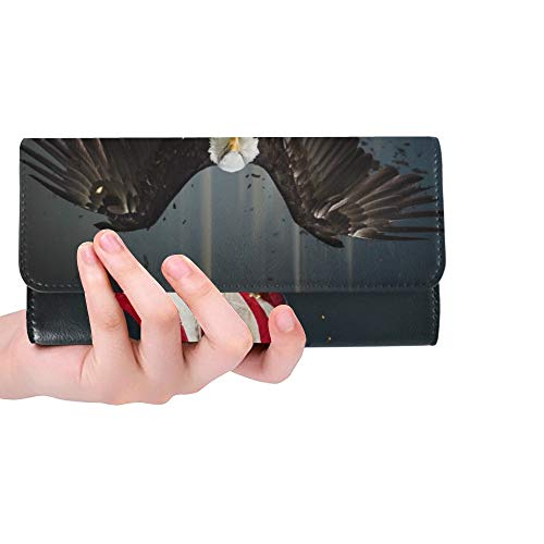 Einzigartige benutzerdefinierte American Weißkopfseeadler Fliegen Symbol Amerika Frauen Trifold Brieftasche Lange Geldbörse Kreditkarteninhaber Fall Handtasche