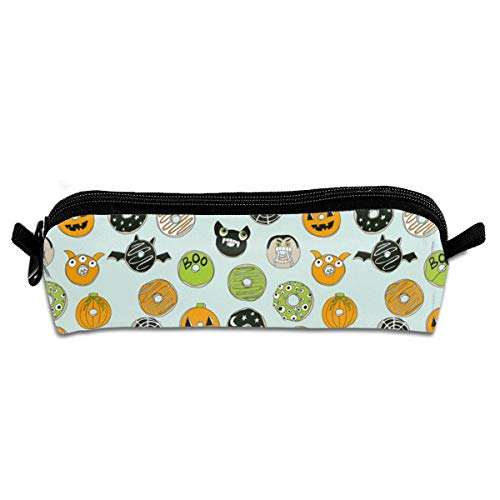 Halloween Donut Fall Autumn Food Cute Spooky Scary Pencil Pouch Bag Stationery Pen Case Makeup Box with Zipper Closure 21 X 5.5 X 5 cm