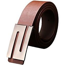 zolimx Cinturones de mujer, Correas de cuero hebilla automático unisex (Talla única, café)