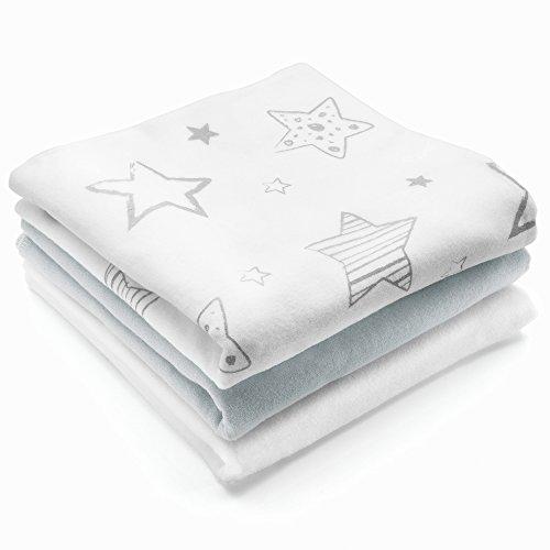 Moltontücher Stoffwindeln Sterne - 3er Pack, 80x80 cm | Weiche Baby Spucktücher 100% Baumwolle - Schadstoffgeprüft, Öko Tex Standard 100 - Weiß Grau
