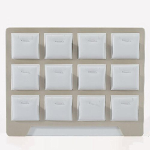 Schmuckständer Ständer Trayaufhänger Multifunktions Organizer zum Organisieren Armband Ring Ohrring Halskette Anhänger Uhrkette Halter Rack Case Box von PU-Leder-Tischplatte mit Gittern im einfachen Stil ( Farbe : Pendant case with 12 case ) (Mit 12 Box, Bar-box)