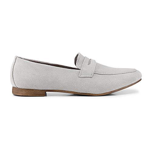 Cox Damen Damen Penny-Loafer aus Leder, klassischer Slipper in Grau mit eleganter Laufsohle grau Rauleder 39