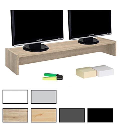 CARO-Möbel Monitorständer Zoom für 2 Monitore Bildschirmerhöhung Schreibtischaufsatz Tischaufsatz 100 x 15 x 27 cm in modernen Farben