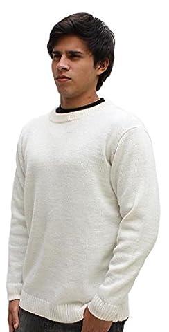 Hypoallergen Luxuriös Unisex jacquard hand-knitted 100% Peruanisch Royal Super Baby Alpaca Crew Neck Pullover Sweater Jumper, Natural White/ivory, Organisch, Softness, Medium