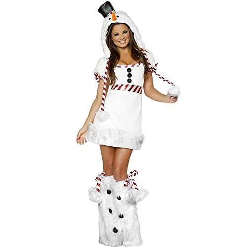 MIAO Weihnachten Kostüm Adult Cosplay Frauen Sexy Temptation Nachtclub Party Bühnenkostüm DS Kostüm Für Weihnachten/Karneval Halloween,White,OneSize (Billig Sexy Adult Kostüm)