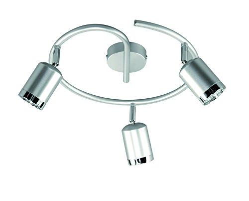 Deckenleuchte, 3-flammig, Serie Port, 3 x LED, 4 W, Höhe 14 cm, Durchmesser 28 cm, Kelvin 3000, Lumen 300, aluminium gebürstet 947603630000