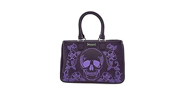 Womens Leather Crossbody Bag Shoulder Purse Small Handbag Flying Purple Skull
