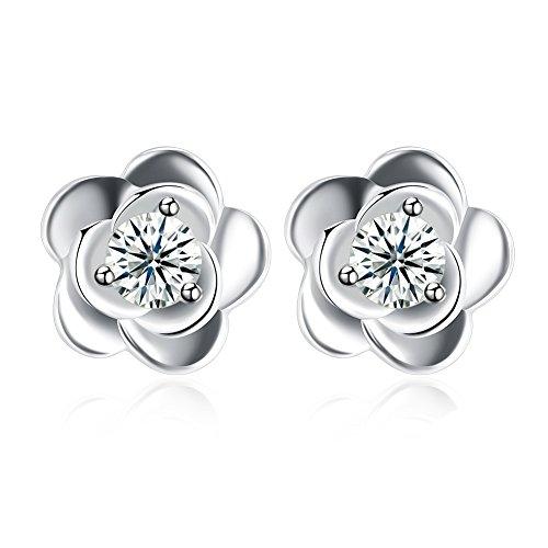 YAZILIND 925 joyería de plata esterlina hermosa forma de flor incrustada ronda...