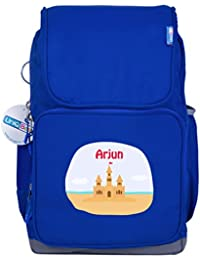 UniQBees Personalised School Bag With Name (Smart Kids Large School Backpack-Blue-Castle)