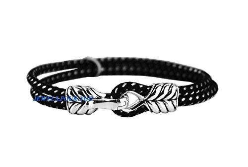 david-yurman-chevron-2-rangs-fermoir-en-argent-sterling-bracelet-cordon-neuf-box-7b