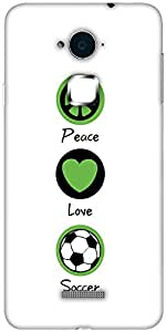 Snoogg Peace Love Soccer Designer Protective Back Case Cover For Coolpad Note 3 (White, 16GB)