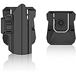 efluky Holster Ceinture Universel Airsoft Pistolet Defense IPSC Gun Holster for Glock 17 19 26/HK USP/Beretta 92/Walther p99/Sig Sauer P320/CZ P07,Paddle