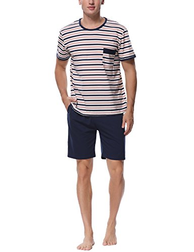 Herren Shorty Schlafanzug Rund & V Ausschnitt in verschiedenen Modellen wählbar kurze Hose Grösse ML XL XXL